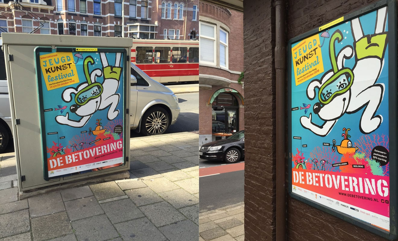 Kinderfestival de Betovering, affiche op straat